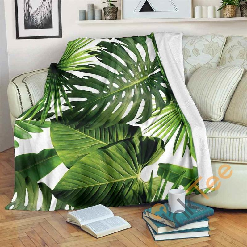 Tropical Palm Leaves Premium Fleece Blanket