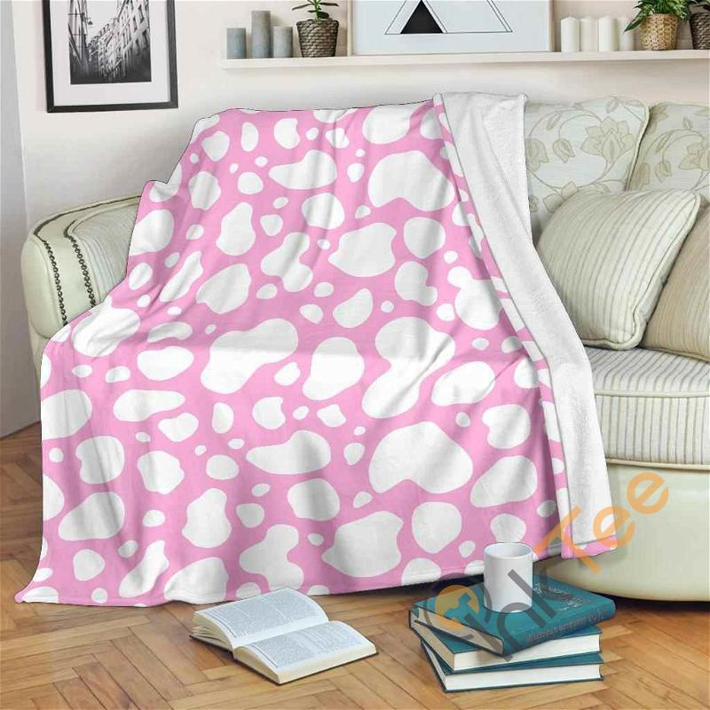 White And Pink Cow Premium Fleece Blanket