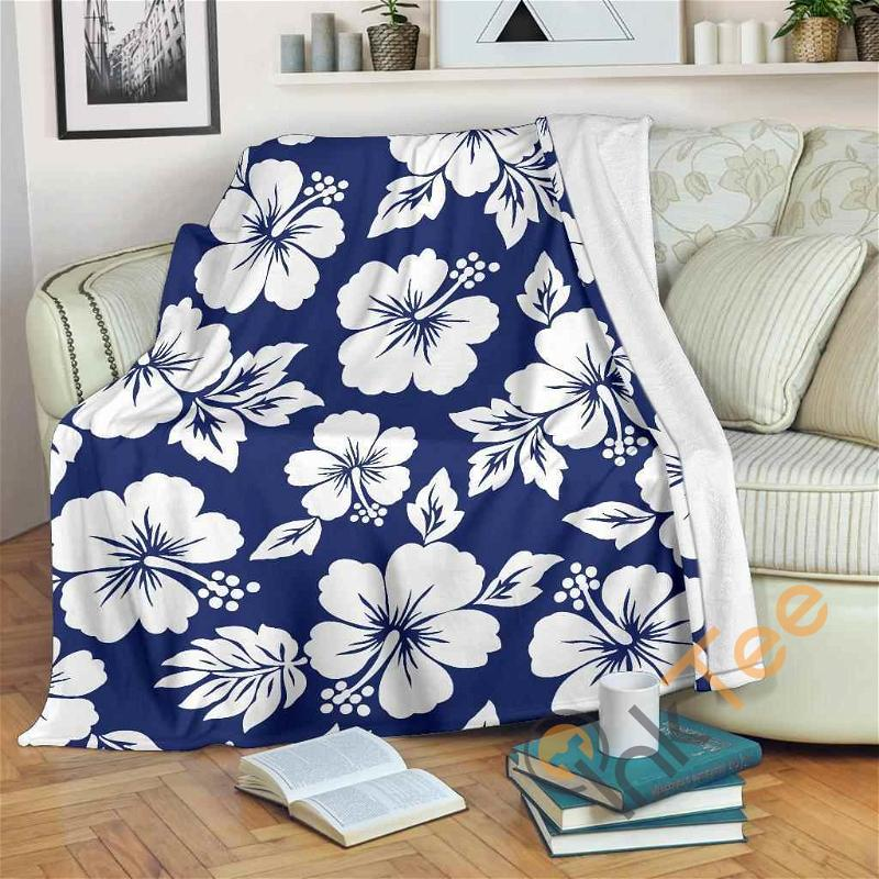 White Blue Hibiscus Floral Pattern Premium Fleece Blanket