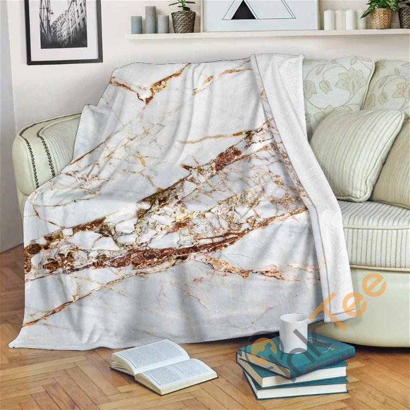 White Gold Grunge Marble Premium Fleece Blanket