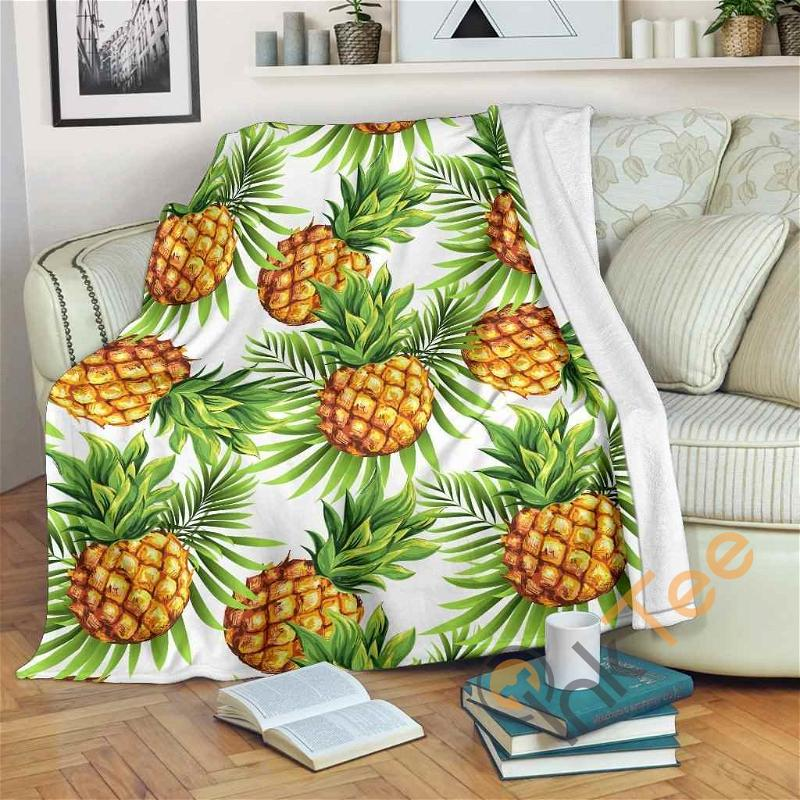 White Tropical Pineapple Pattern Premium Fleece Blanket