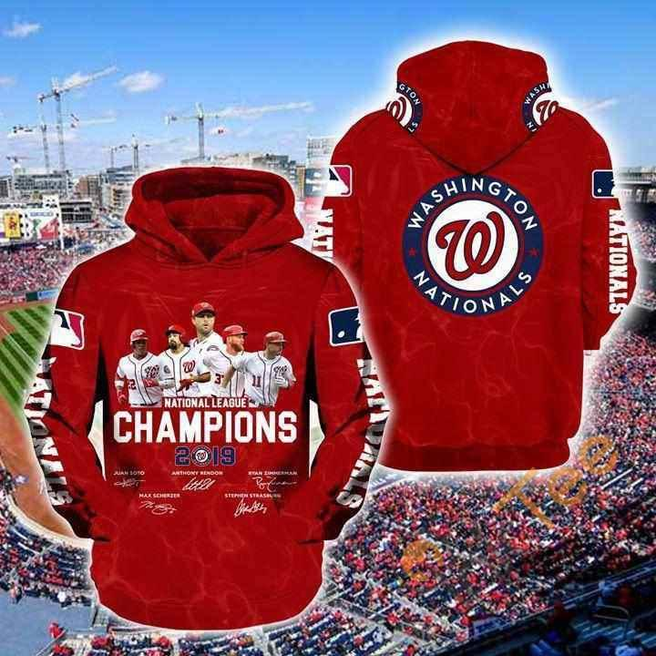 Washington Nationals 2019 Mlb National League Champions Signed Hoodie 3d
