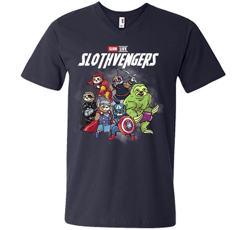 Official Slow Life Slothvengers V-neck T-shirt Inktee Store