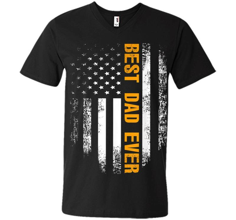 Vintage Best Dad Ever American Flag Fathers Day Gift V-neck T-shirt
