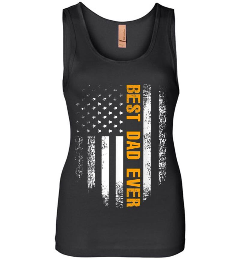 Vintage Best Dad Ever American Flag Fathers Day Gift Women Jersey Tank Top