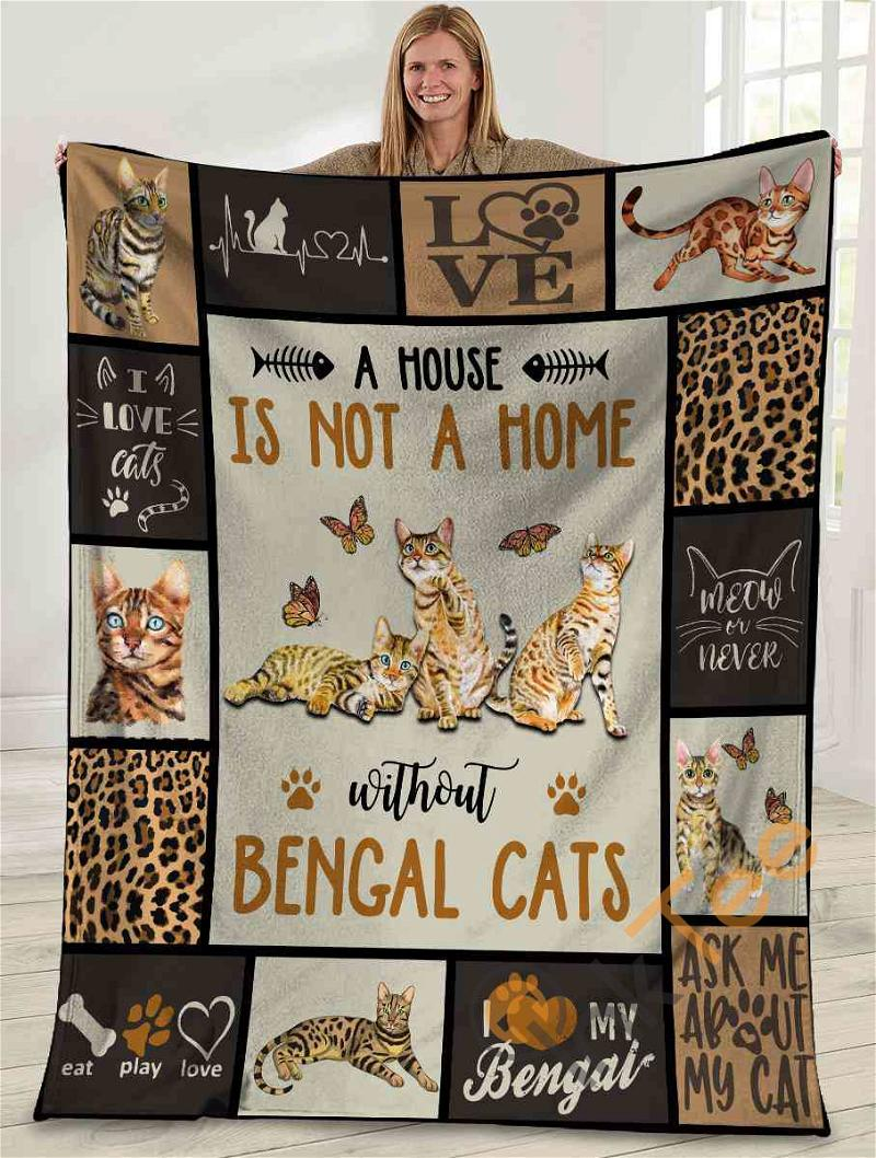 A House Us Not A Home Without Bengal Cats Bengal Cat Ultra Soft Cozy Plush Fleece Blanket