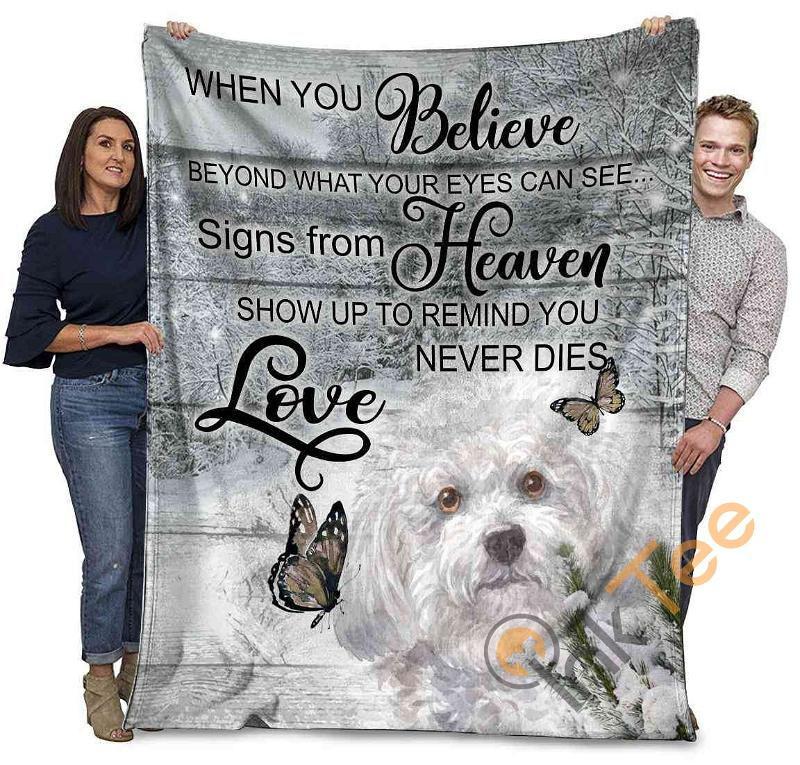 Bichon Frise Dog When You Belive Beyond What Your Eyes Can See Ultra Soft Cozy Plush Fleece Blanket