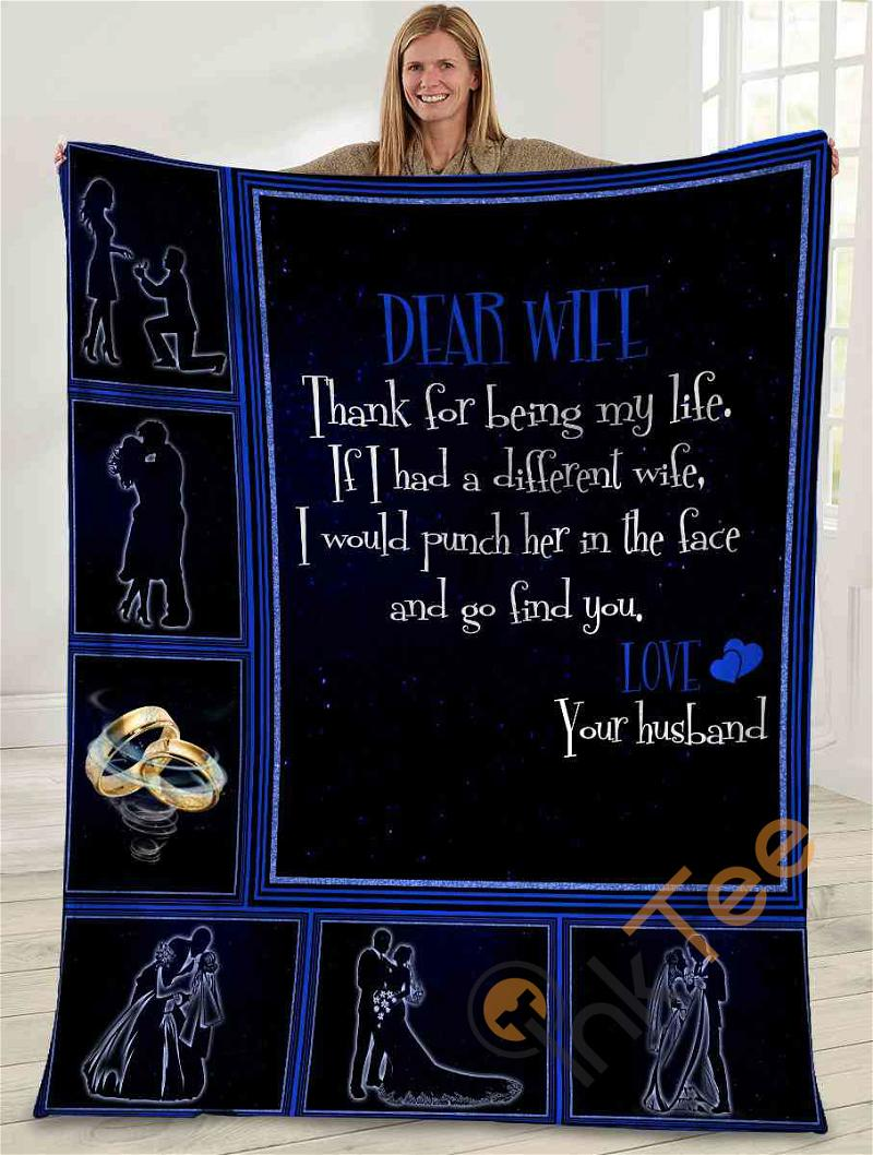 Dear Wife Thank For Being My Life Husband And Wife Rings Ultra Soft Cozy Plush Fleece Blanket