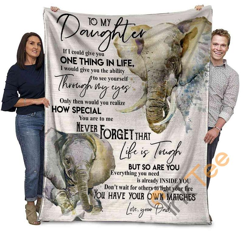 Elephant To My Daughter If I Could Give You One Thing In My Life Ultra Soft Cozy Plush Fleece Blanket