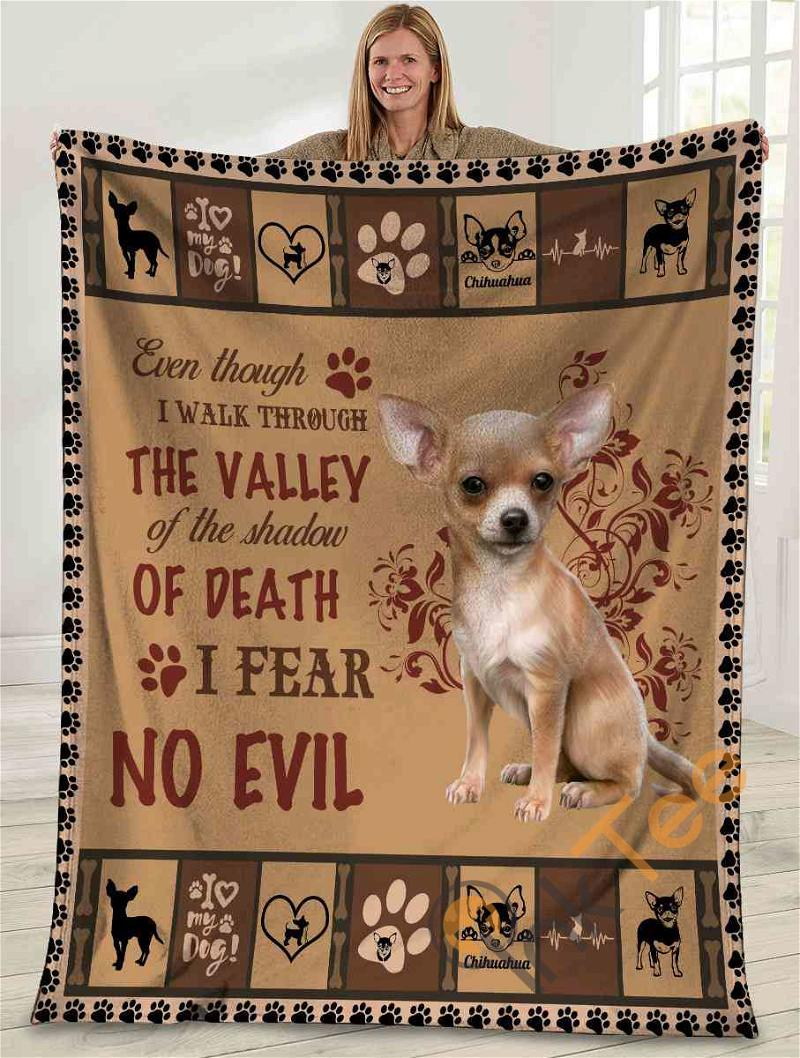 Even Though I Walk Through The Valley Chihuahua Dog Ultra Soft Cozy Plush Fleece Blanket