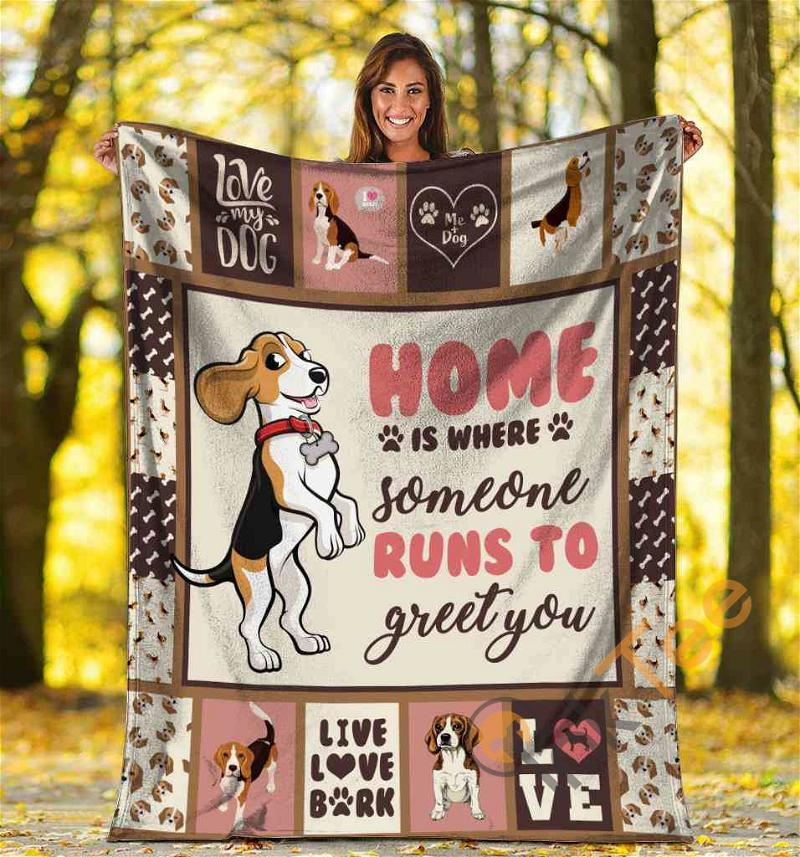 Home Is Where Someone Runs To Greet You Beagle Dog Ultra Soft Cozy Plush Fleece Blanket
