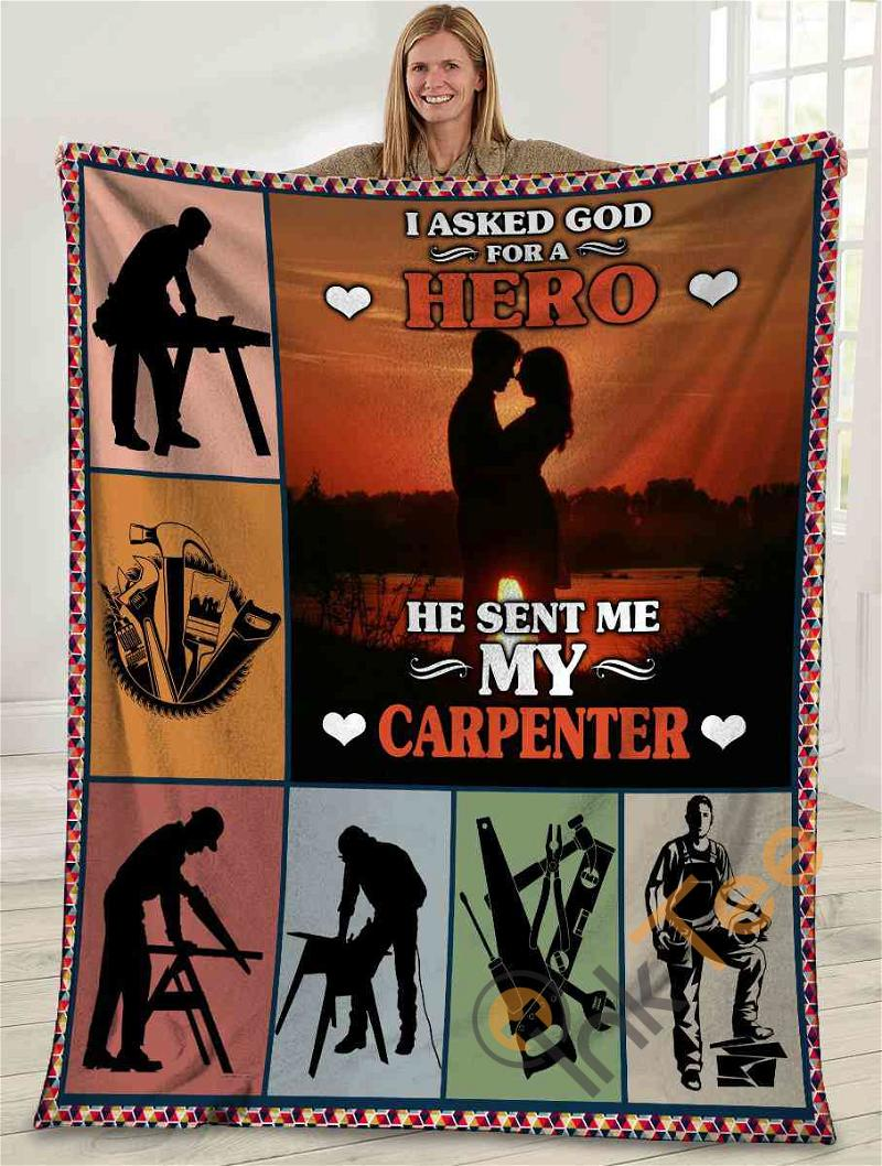 I Asked God For A Hero He Sent Me My Carpenter Husband And Wife Sunset Ultra Soft Cozy Plush Fleece Blanket