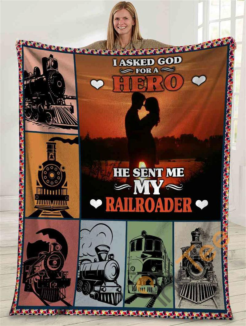 I Asked God For A Hero He Sent Me My Railroader Husband And Wife Sunset Ultra Soft Cozy Plush Fleece Blanket