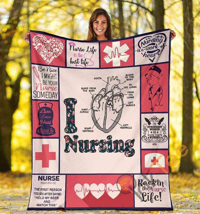 I Love Nursing Heart Anatomy Medical Rn Lpn Lvn Nurse Gift Idea Ultra Soft Cozy Plush Fleece Blanket