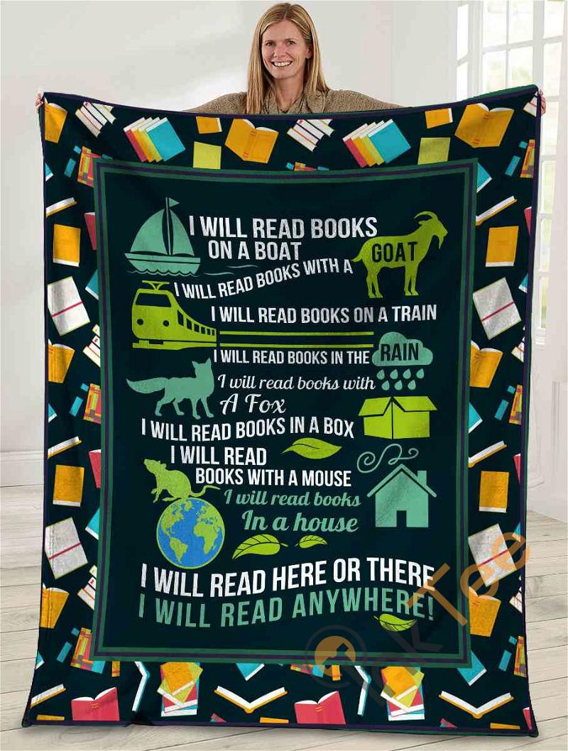 I Will Read Here Or There I Will Read Anywhere Book Lover Ultra Soft Cozy Plush Fleece Blanket