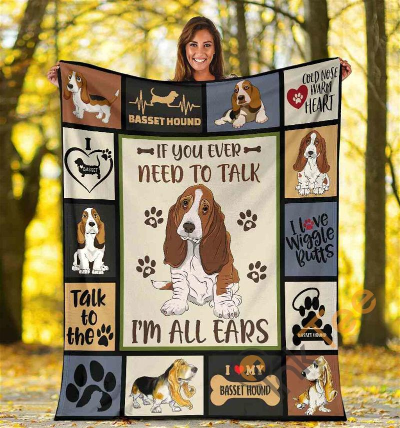 If You Ever Need To Talk I'm All Ears Basset Hound Dog Ultra Soft Cozy Plush Fleece Blanket