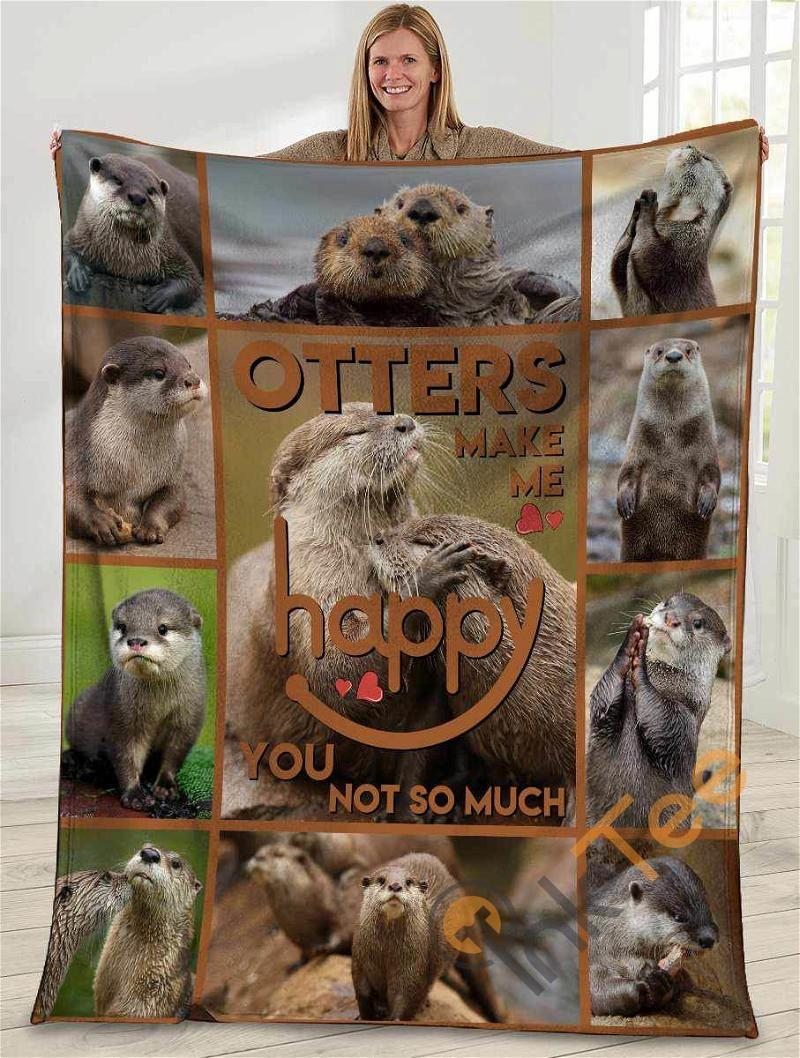 Otters Make Me Happy You Not So Much Otter Ultra Soft Cozy Plush Fleece Blanket