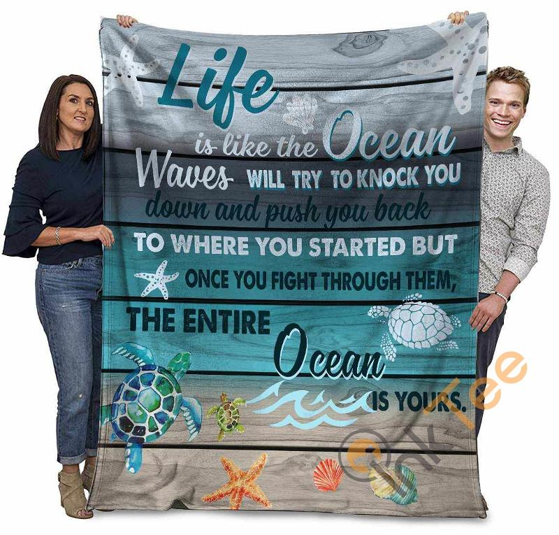 Sea Turtles Life Is Like The Ocean Wave Will Try To Knock You Ultra Soft Cozy Plush Fleece Blanket