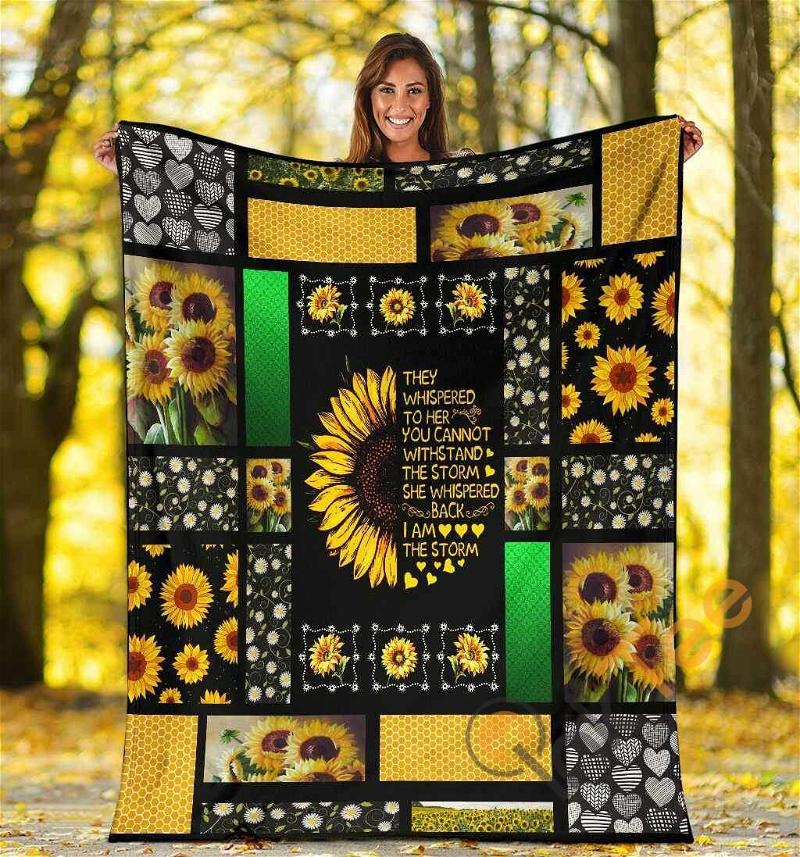 They Whispered To Her You Cannot Withstand The Storm Sunflower Hippie Ultra Soft Cozy Plush Fleece Blanket
