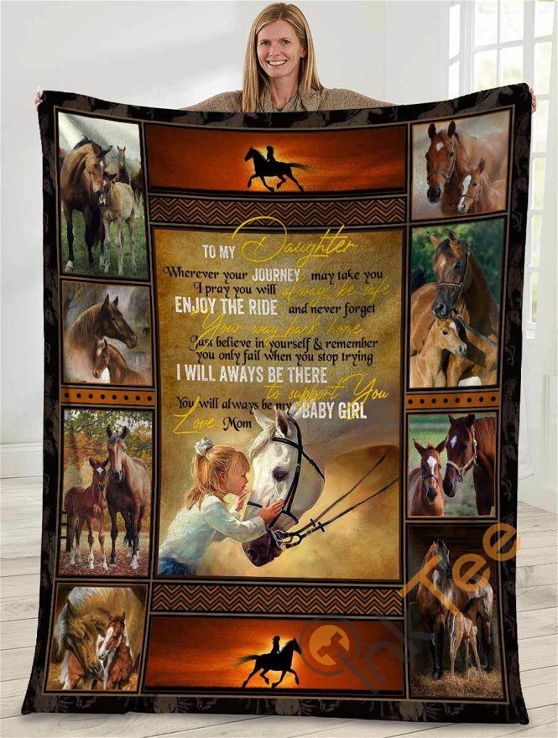 To My Daughter Wherever Your Journey May Take You Girl Riding Horse Ultra Soft Cozy Plush Fleece Blanket