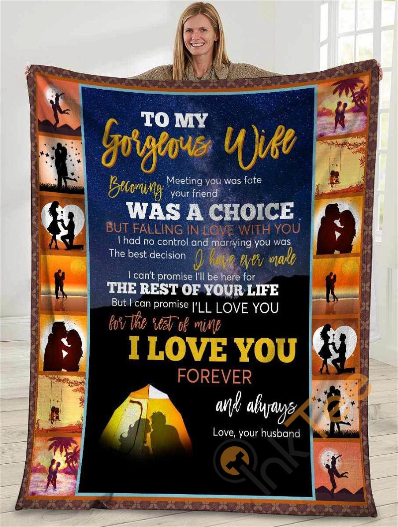 To My Gorgeous Wife Meeting You Was Fate Husband And Wife Camping Sunset Ultra Soft Cozy Plush Fleece Blanket
