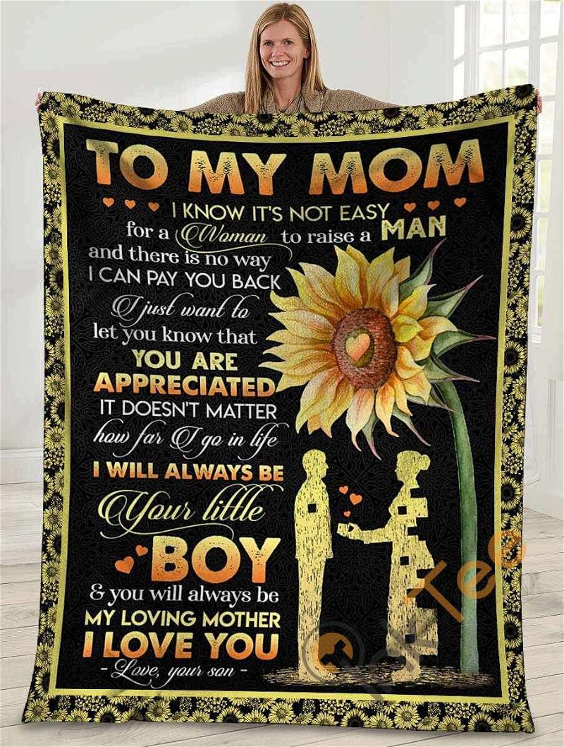 To My Mom I Know It's Not Easy Mom And Son Sunflower Ultra Soft Cozy Plush Fleece Blanket
