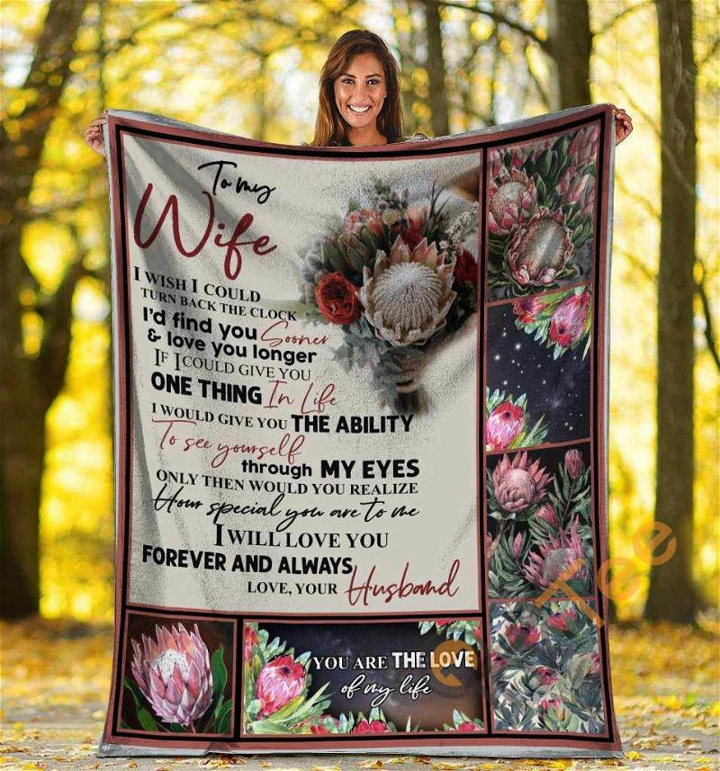 To My Wife I Wish I Could Turn Back The Clock Protea Flower Ultra Soft Cozy Plush Fleece Blanket