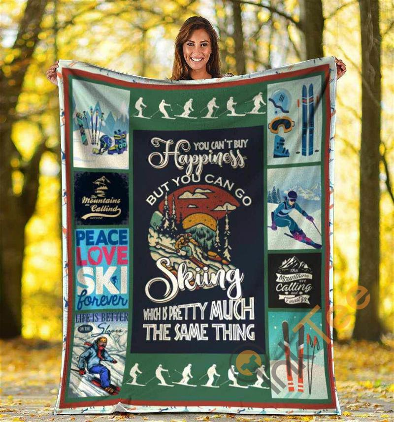 You Can't Buy Happiness But You Can Go Skiing Ultra Soft Cozy Plush Fleece Blanket