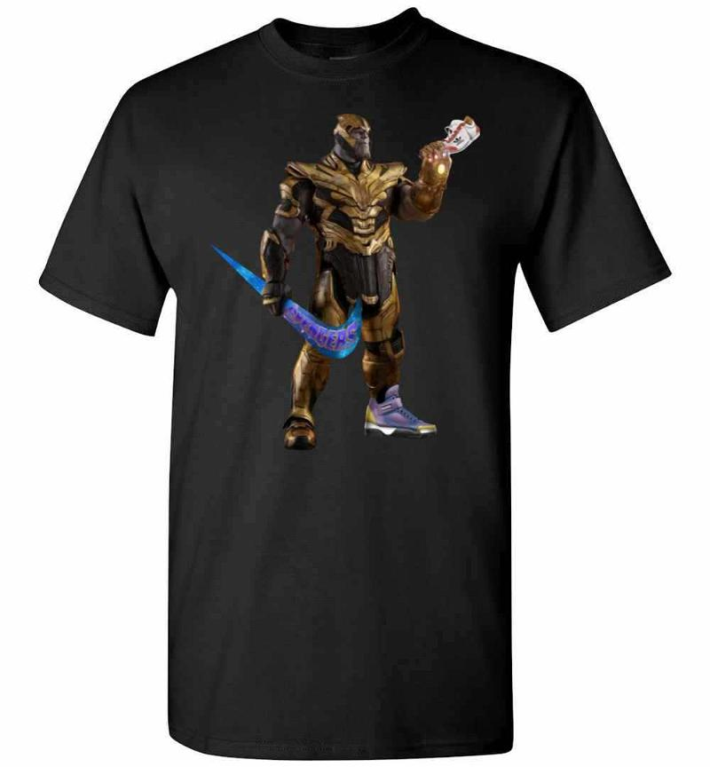 Funny Thanos With Swoosh As Weapon And Hand On Shoe Men's T-shirt Inktee Store
