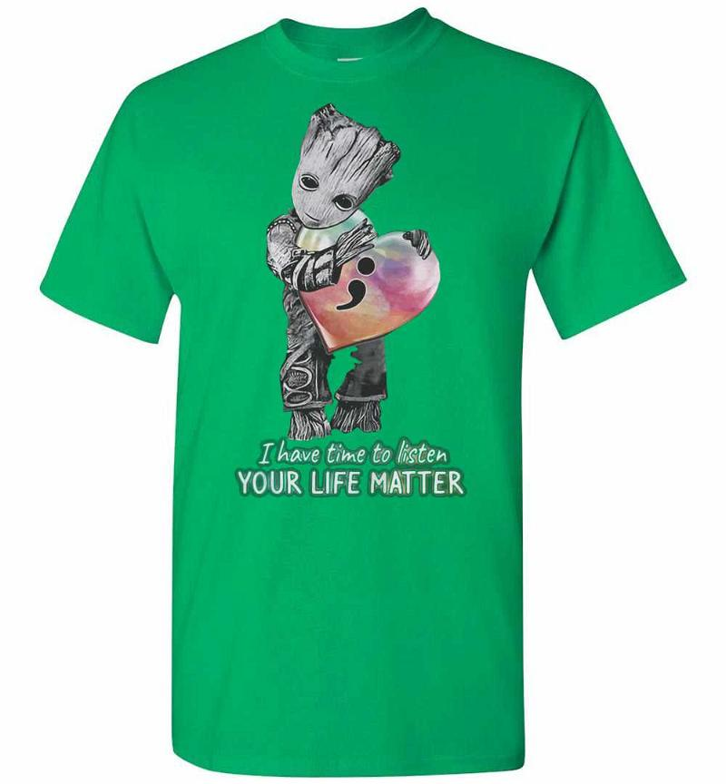 Baby Groot Hug Heart I Have Time To Listen Your Life Men's T-shirt Inktee Store