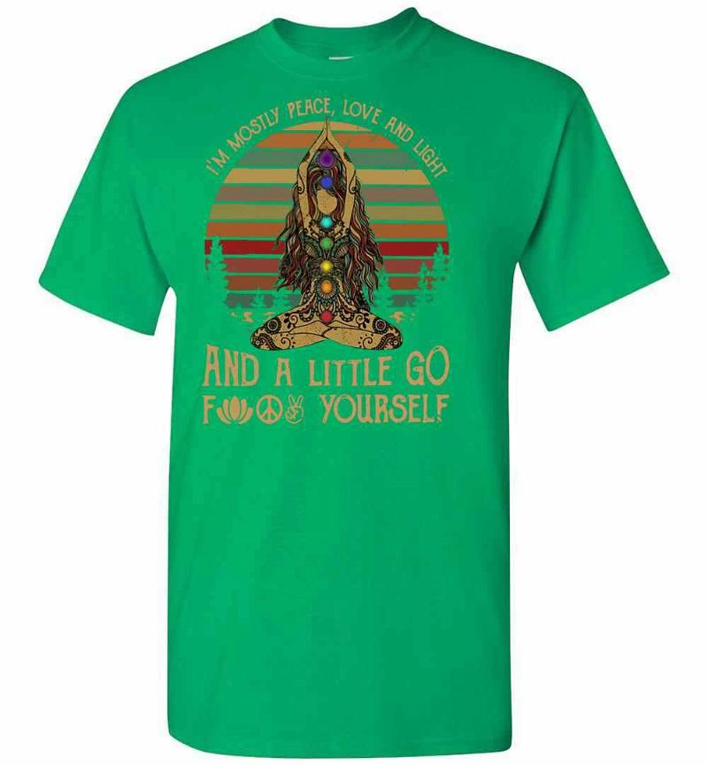 Hippie Girl Yoga I'm Mostly Peace Love And Light And A Men's T-shirt Inktee Store