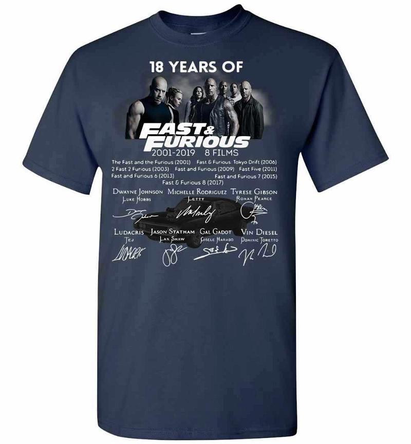 18th Years Of Fast & Furious 2001-2019 8 Films Men's T-shirt Inktee Store
