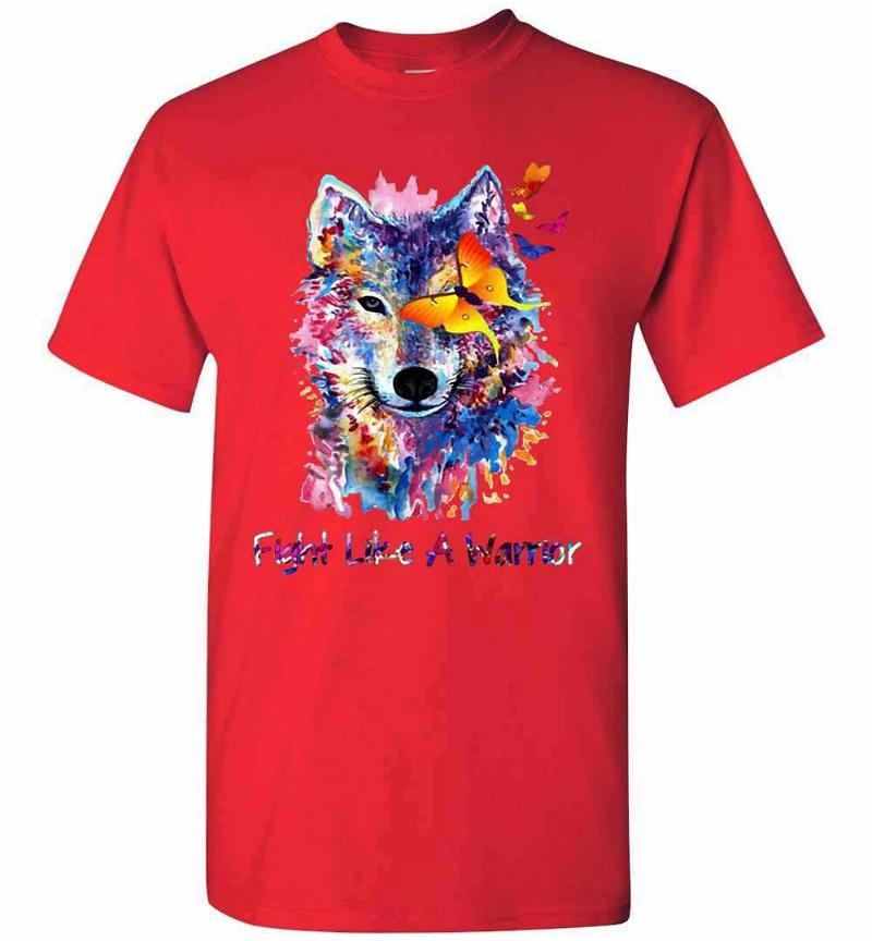 Fight Like A Warrior Wolf With Butterfly Watercolor Men's T-shirt Inktee Store