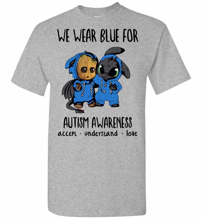 Baby Groot And Toothless We Wear Blue For Autism Men's T-shirt Inktee Store