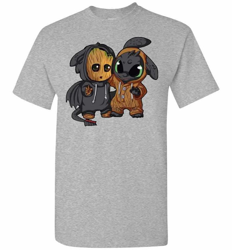 Baby Groot And Toothless Men's T-shirt Inktee Store