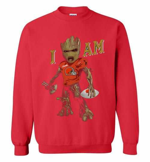 Strong Groot I Am Cleveland Browns America Sport Sweatshirt Inktee Store