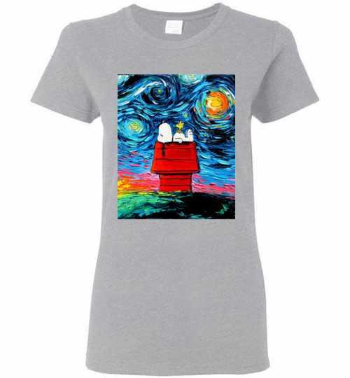 Woodstock And Snoopy Starry Night Women's T-shirt Inktee Store