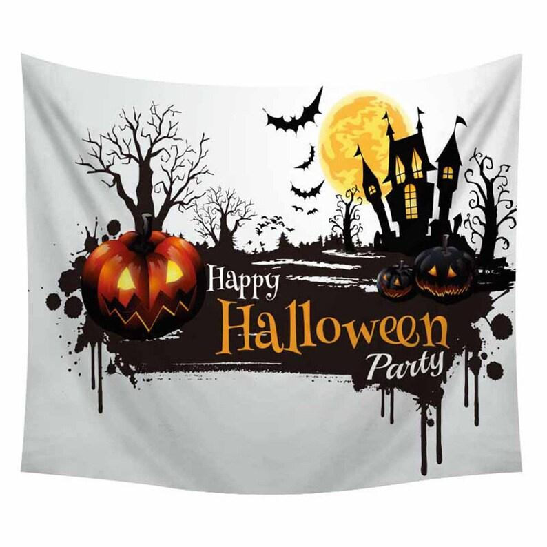 Happy Halloween Party Haunted House Wall Art Decor Halloween Gifts Tapestry