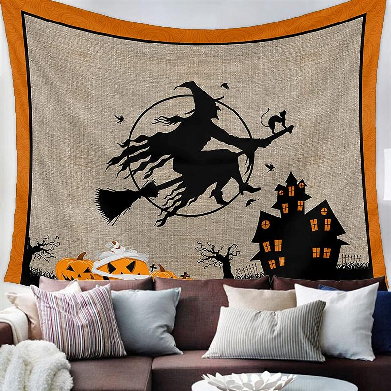 Witch Riding Broom Wall Art Decor Halloween Gifts Tapestry